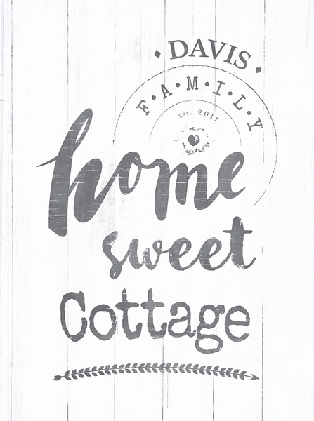 "Close up of the art with text ""home sweet cottage"""