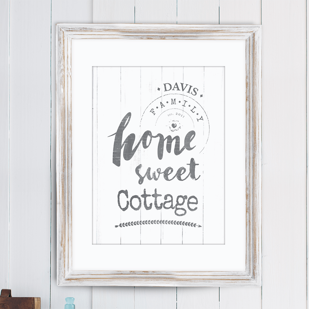 "Rustic print with text ""Home sweet cottage"" perfect for a lake house or a cottage! Personalize it with your family name and EST. date."