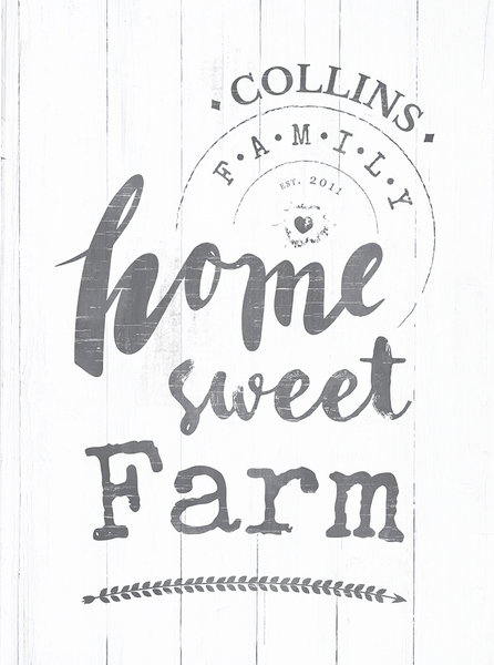 Closer view of the Home Sweet Farm personalized print