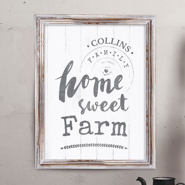 "Rustic looking personalized print with text ""home sweet farm"". Add your last name and date to make it yours!"