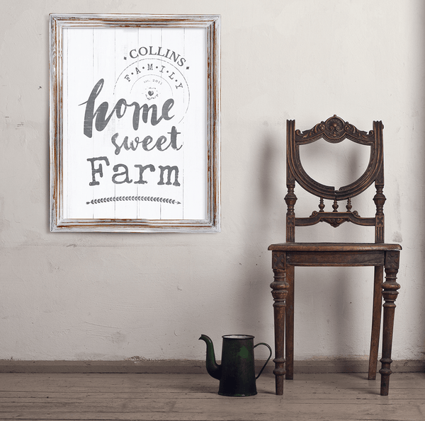 Vintage room with a framed Home Sweet Farm personalized print