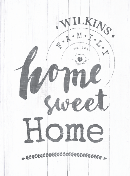 Closer look at the Home Sweet Home personalized print