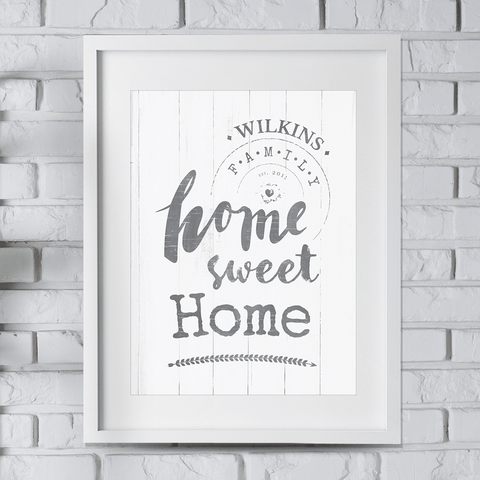 Home Sweet Home personalized print in a rustic style. Add your family name and EST. date to it!