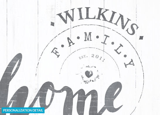 Detail preview of the personalization on the Home Sweet Home print