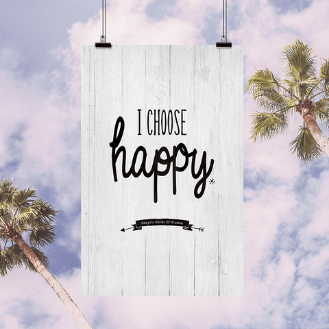I Choose Happy personalized, inspirational print set against a palm tree skies