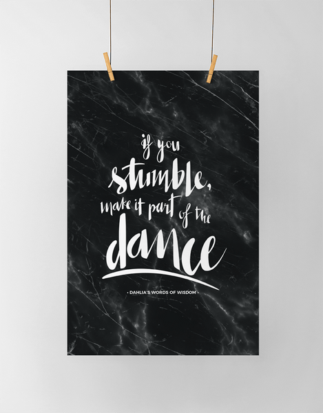 If You Stumble Personalized Print in black marble