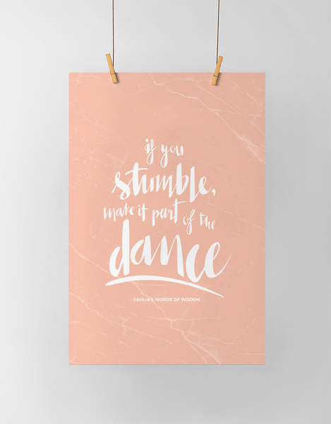 If You Stumble Personalized Print shown in blush marble