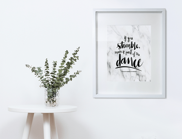 If You Stumble Personalized Print framed in a matted frame in a modern room