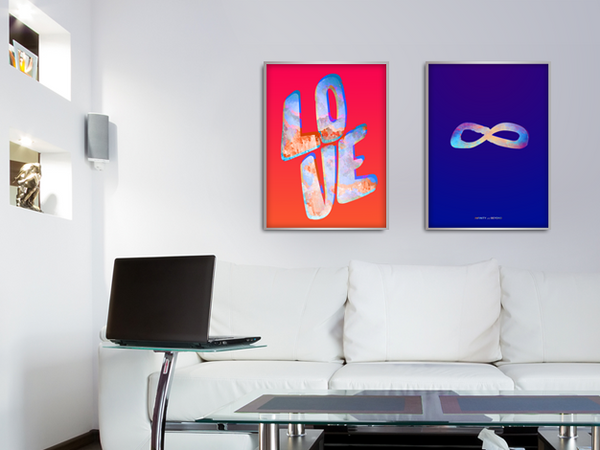 Modern room with Infinity In Colour poster hanging. Together with Love In Colour poster. Set.