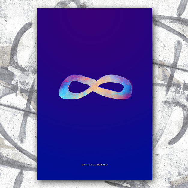Infinity sign with colourful texture on deep blue background. Text below: Infinity and Beyond