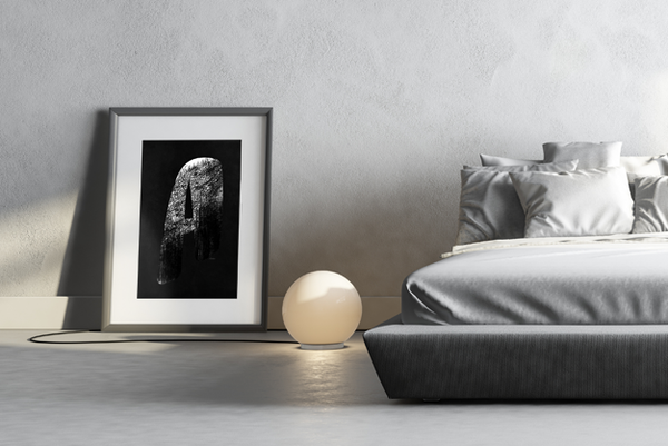 Bedroom with Infinity - Grunge print in a matted frame