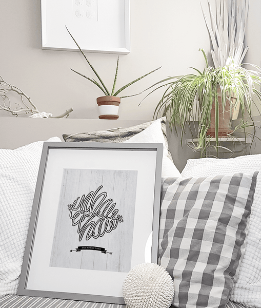 Inhale Exhale Personalized Print in a neutral, boho, coastal decor room