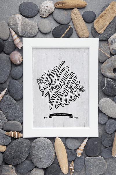 framed Inhale Exhale 2 personalized print among pebbles and shells