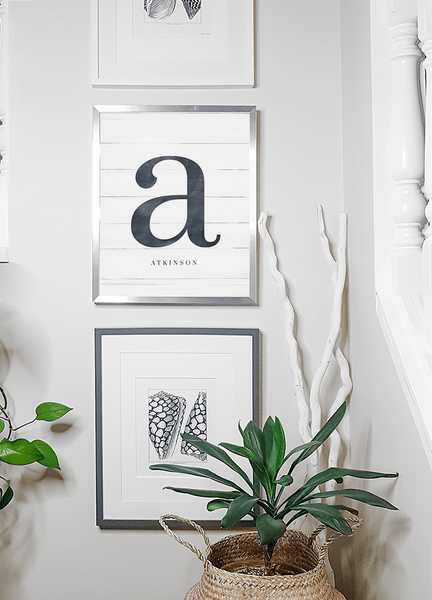 Initial Adore Personalized Print in a bright farmhouse style room