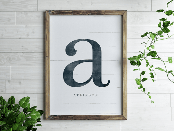 Initial Adore Personalized Print in a boho home with houseplants