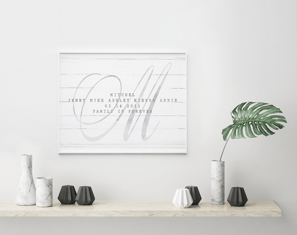 Initial Forever personalized print in a modern, nordic style room