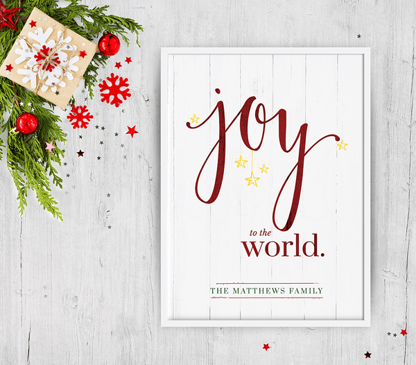Joy To The World - Color - Personalized Print in a white frame with Christmas decorations around