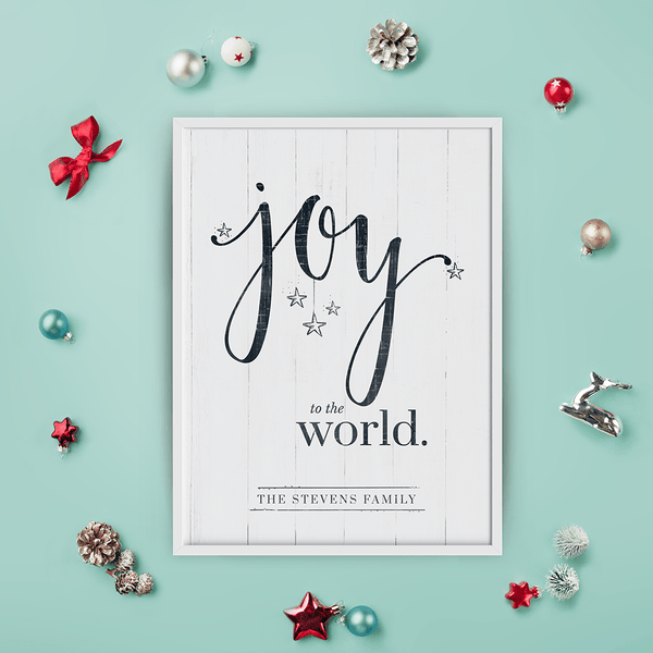 Joy To The World Personalized Print among many Christmas decorations