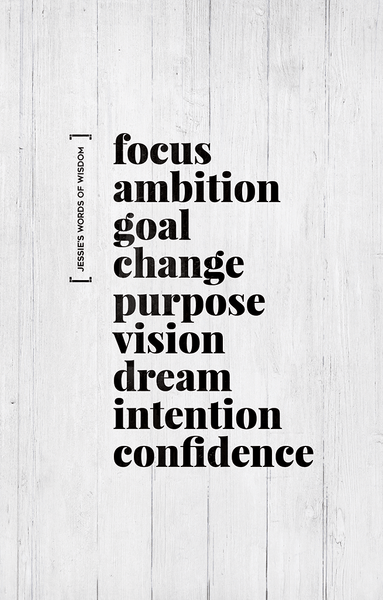 Close up view of Keywords personalized print. Keywords read: focus, ambition, goal, change, purpose, vision, dream, intention, confidence