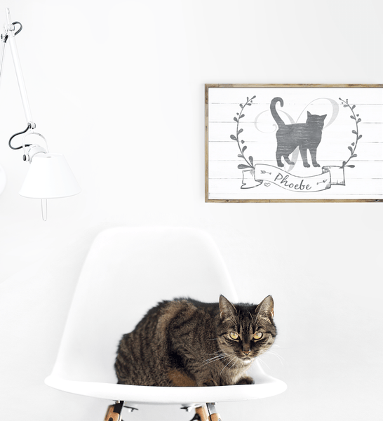 Kitty Kat personalized print framed on the wall in a modern room with a cat on a chair