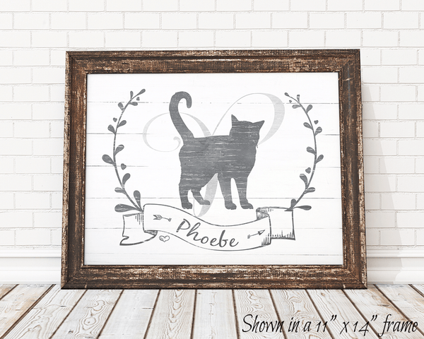 Kitty Kat personalized print framed in a rustic frame