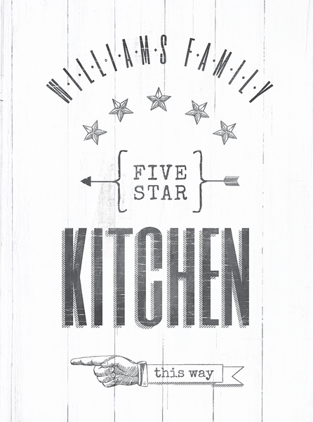 "close up view of the ""kitchen this way"" personalized print"