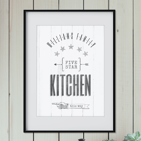 "Vintage style print with a family name and art that reads ""5 star kitchen this way"" and an old-fashioned hand pointing to the left."