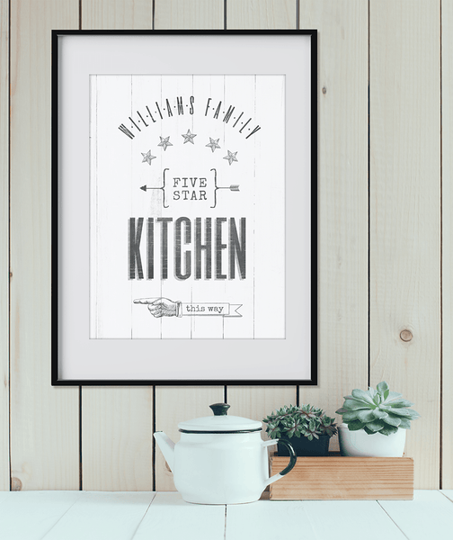 """Kitchen this way"" personalized print hanging on a shiplap wall"