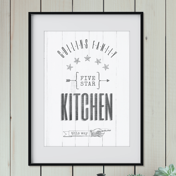 "Vintage style print with a family name and art that reads ""5 star kitchen this way"" and an old-fashioned hand pointing to the right."