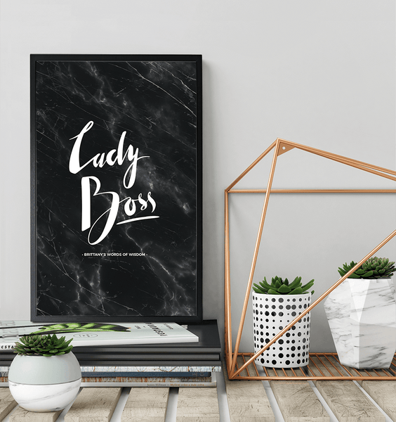 Marble and copper decor with the Lady Boss Personalized Print