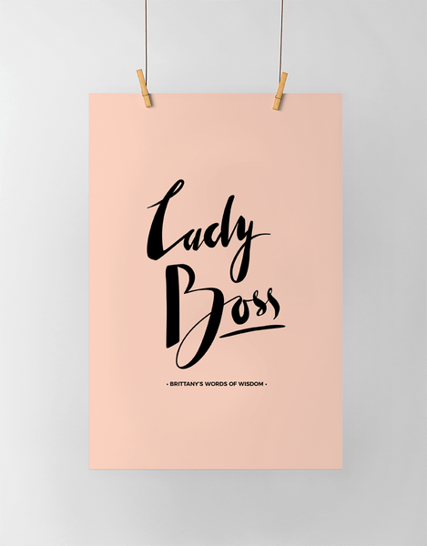 Lady Boss Personalized Print in black and blush