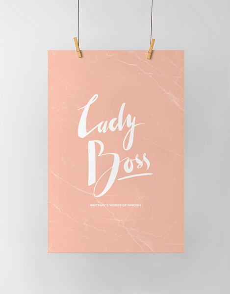 Lady Boss Personalized Print in blush marble