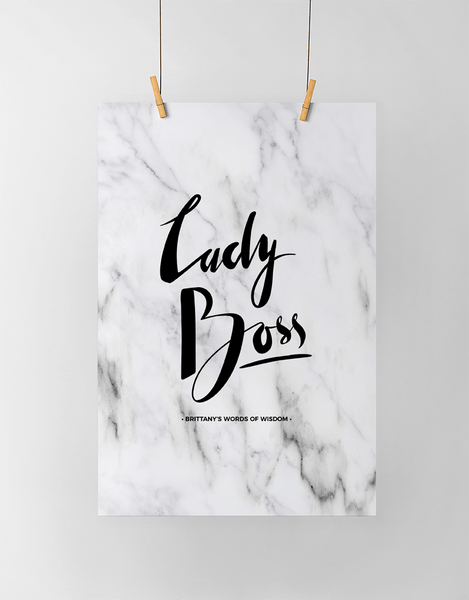 Lady Boss Personalized Print in classic marble look