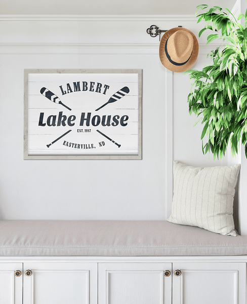 Lake House personalized print in a lake house entrance
