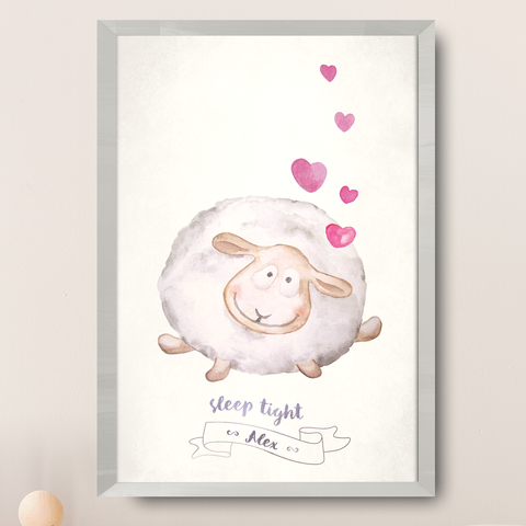 Watercolor painting of a lamb with hearts. Poster reads Sleep tight and you can customize it with your baby's name below.