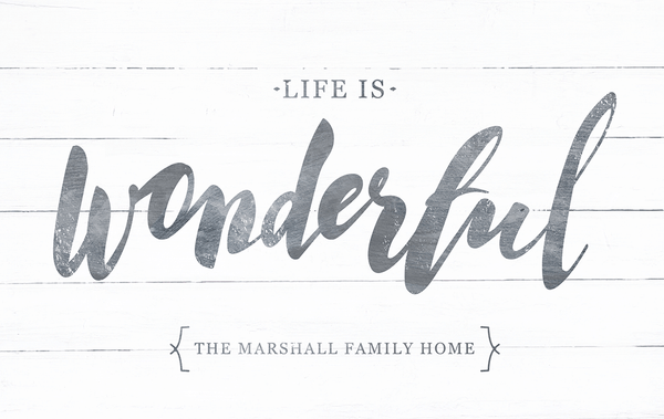 Close up view of the Life Is Wonderful personalized print.