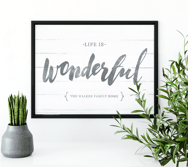 Life Is Wonderful personalized print in a modern boho-style room