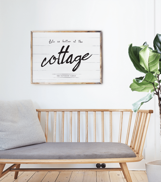 Cottage interior with a personalized Life At The Cottage print
