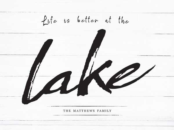Close up look at the Life At The Lake personalized print