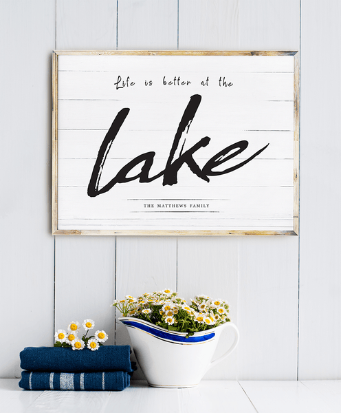 Lake house shelf with a framed Life Is Better At The Lake personalized print