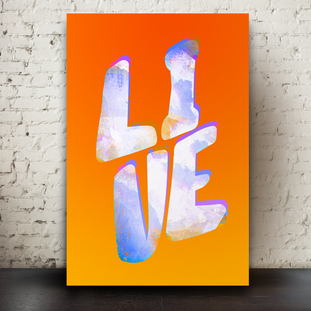 LIVE written in colourful grundgy texture on an orange background.