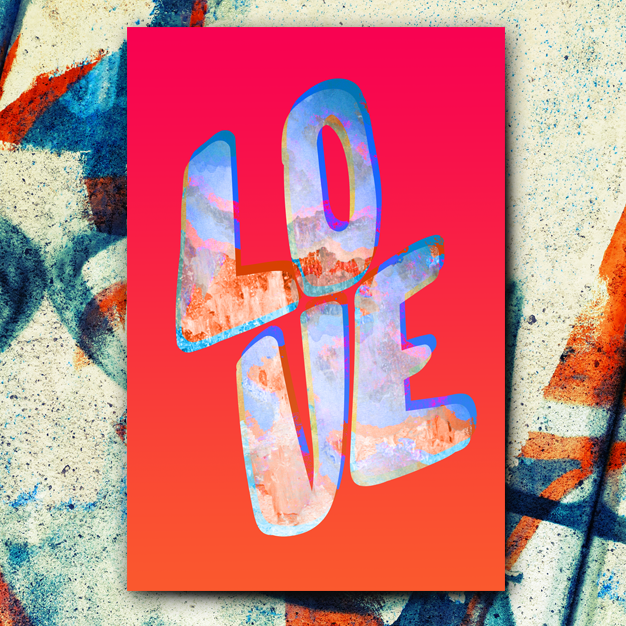 Love In Colour poster. LOVE written with colourful letters on a red background