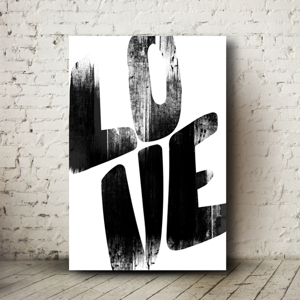 "Love Grunge poster with thick lettering ""LOVE"" running off the edges. In a grungy texture."