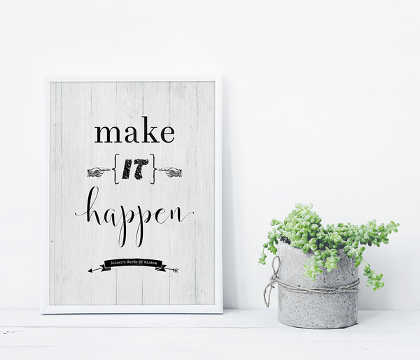 shelf with the Make it Happen personalized print