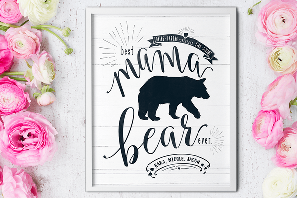 Mother's Day gift - framed Mama Bear personalized print
