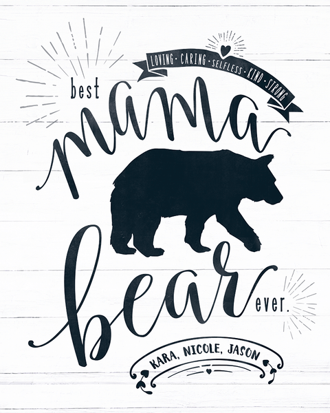 close up look at the Mama Bear personalized print
