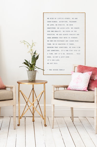modern chic room with The Manifesto personalized print