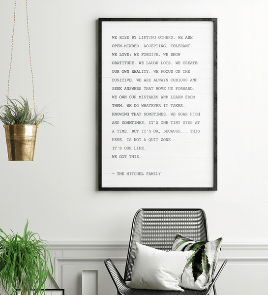 Family Manifesto personalized print in a beautiful modern home