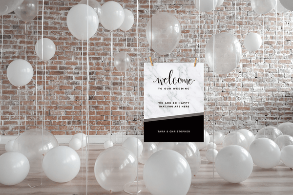 MarbleKlass - Black Personalized Wedding Print in a room full of white wedding balloons