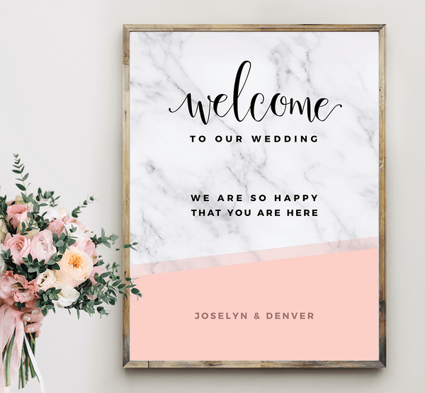 MarbleKlass - Blush Personalized Wedding Print with blush wedding bouquet